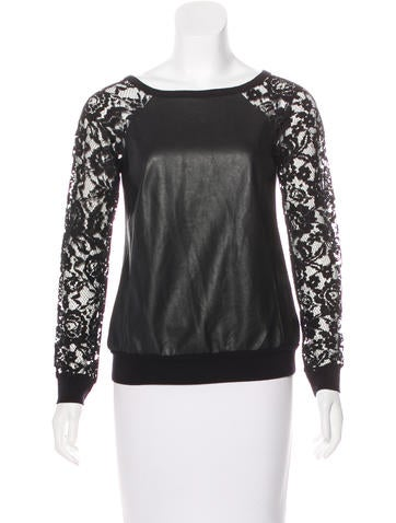 Bailey 44 Faux Leather Lace Top None