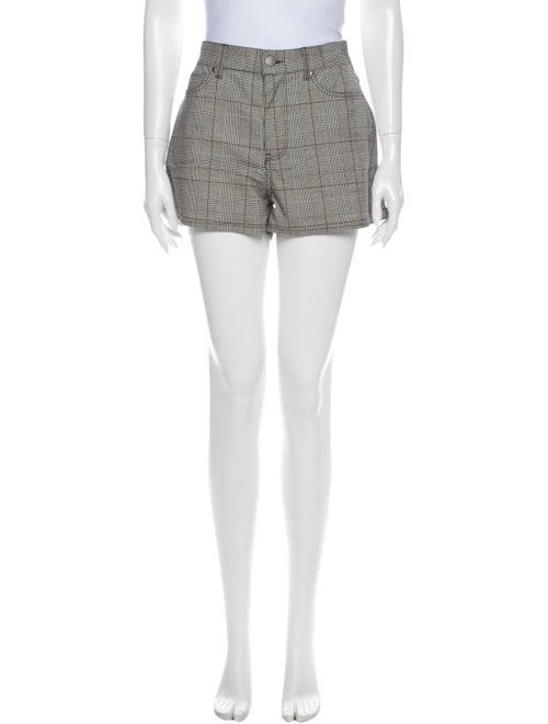 Bldwn Plaid Print Mini Shorts Black