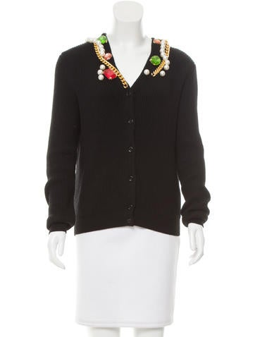 Boutique Moschino Embellished Wool Cardigan w/ Tags None