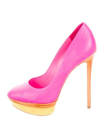 Embossed Colorblock Pumps