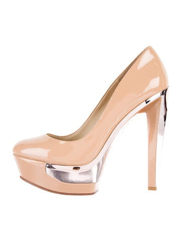 B Brian Atwood Patent Leather Platform Pumps None