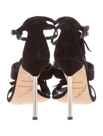 Suede Fringe-Trimmed Sandals