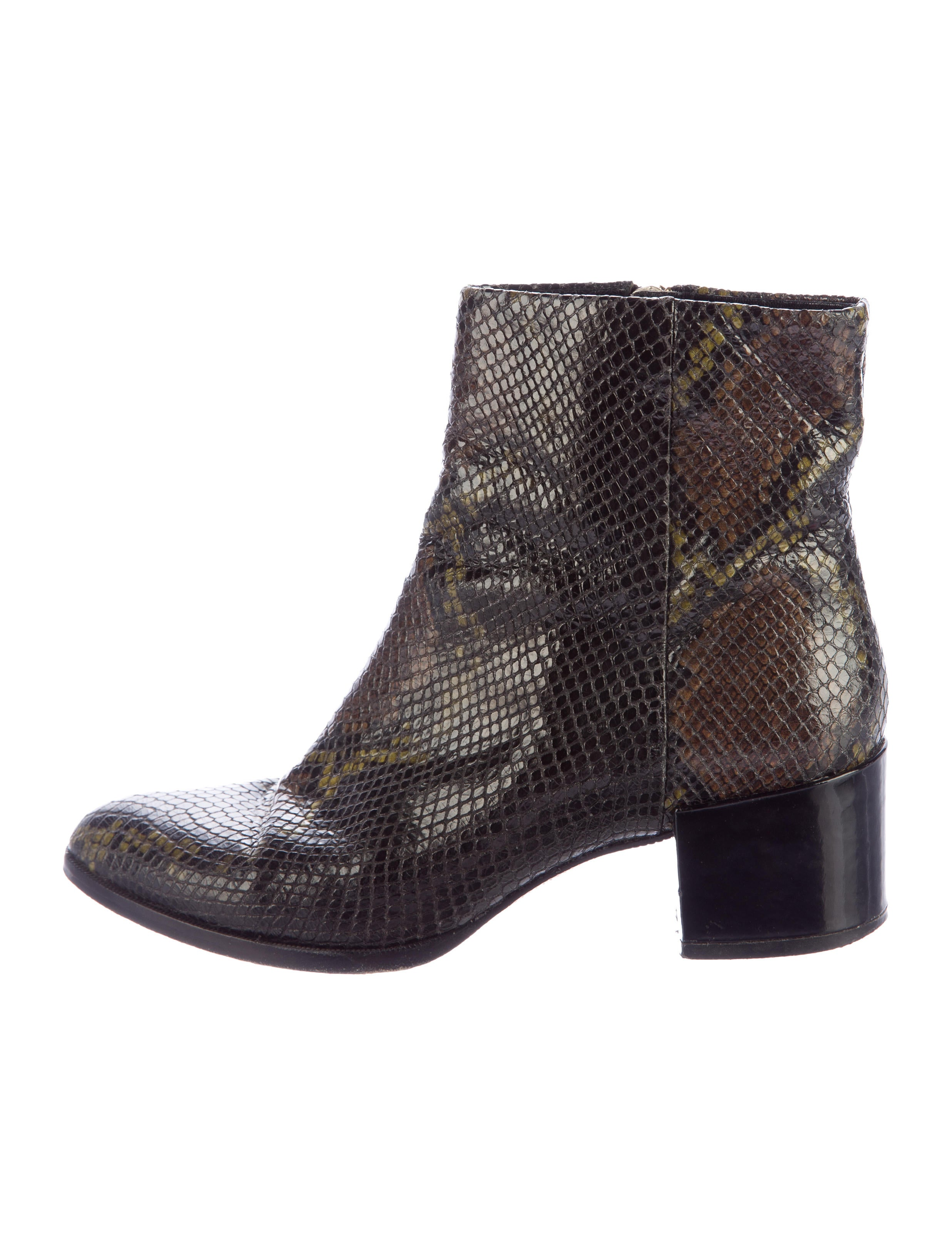 b brian atwood embossed pointed toe ankle boots shoes