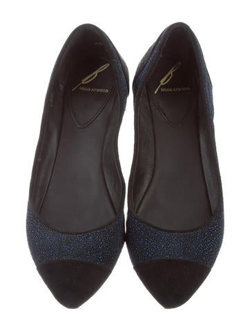 B Brian Atwood Glitter-Accented Suede Flats cheap factory outlet SFMCNfP
