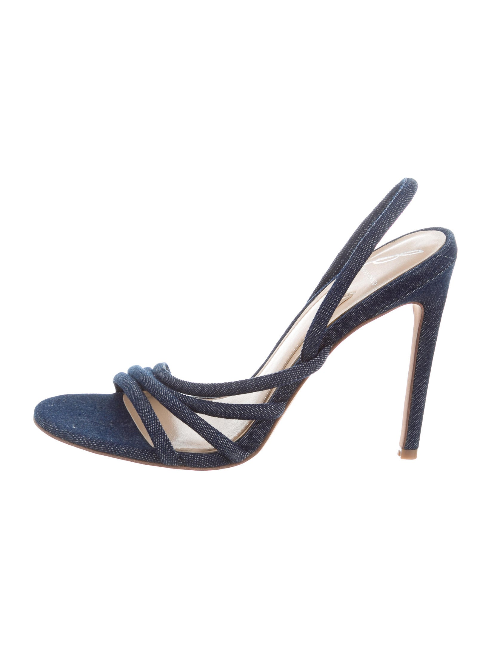 B Brian Atwood Denim Multistrap Sandals 100% authentic cheap price 7C2wh