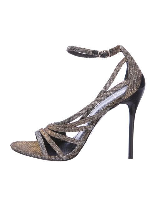 B Brian Atwood Glitter Sandals Gold