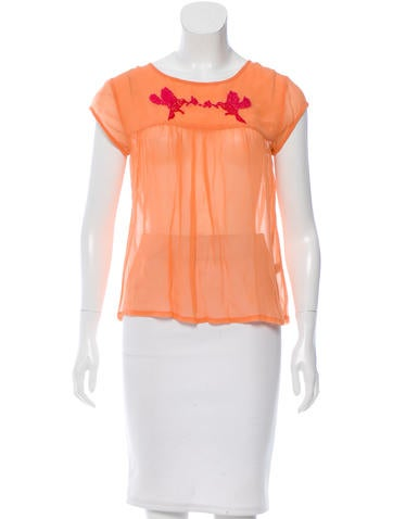 Banjanan Embroider-accented Scoop Neck Top