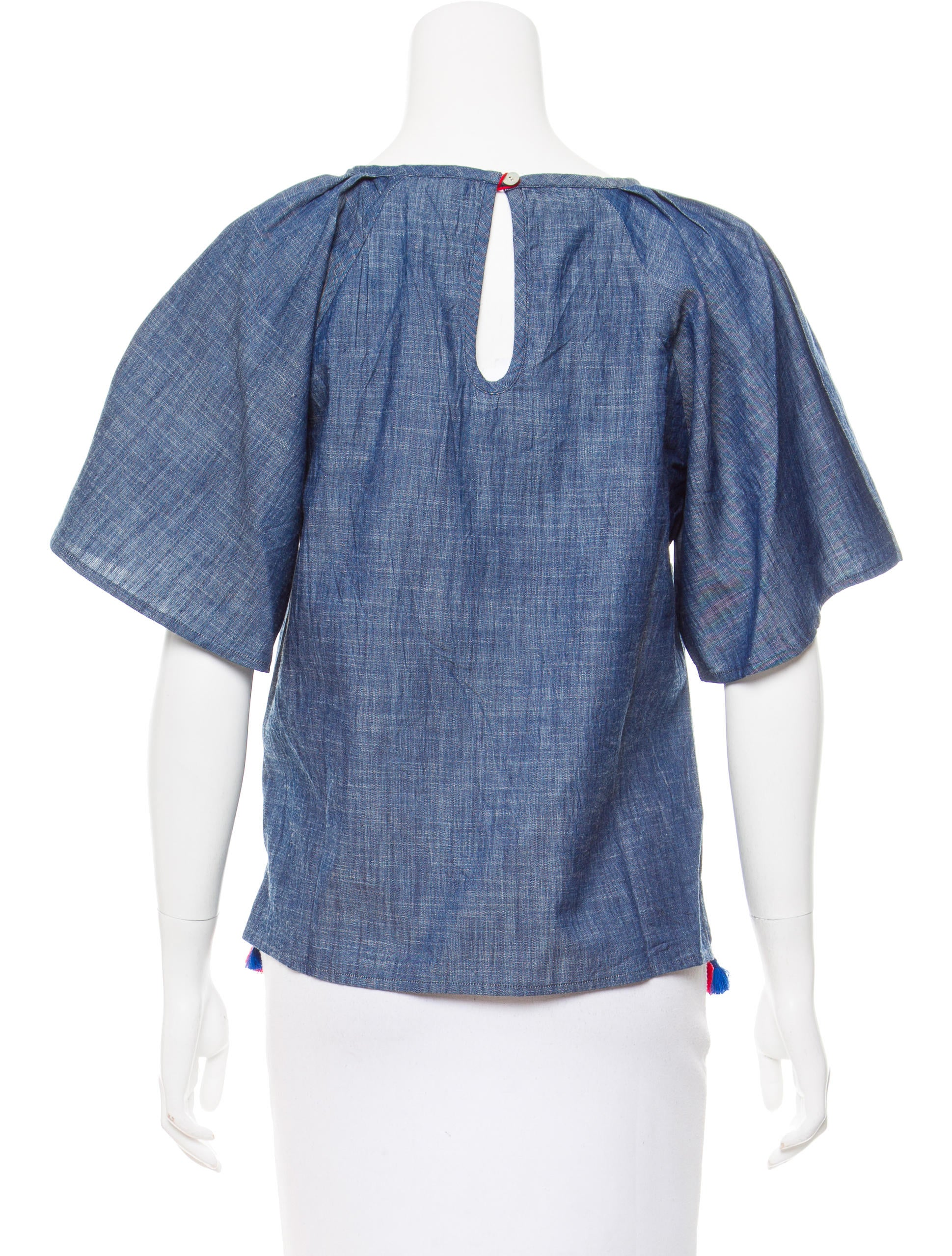 Banjanan embroidered chambray top w tags clothing for Chambray top