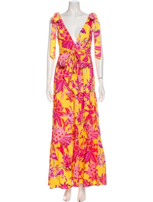 Banjanan Floral Print Long Dress Yellow