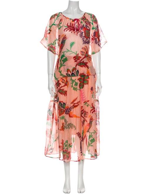 Banjanan Silk Floral Print Skirt Set Pink