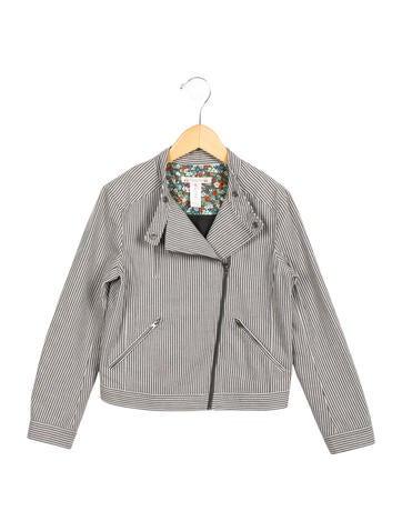 Bonpoint Girls' Striped Moto Jacket None