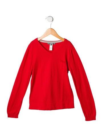 Bonpoint Girls' V-Neck Rib Knit Sweater None