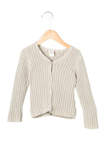 Bonpoint Girls' Rib Knit V-Neck Cardigan None