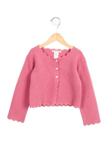 Bonpoint Girls' Wool Scallop-Trimmed Cardigan None