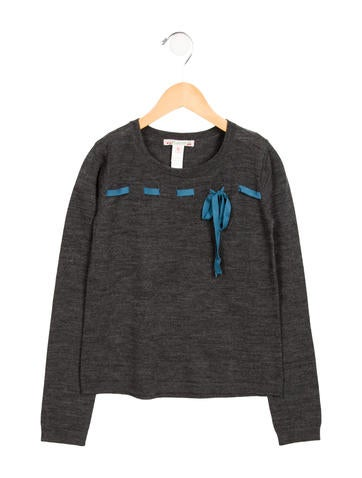 Bonpoint Girls' Bow-Accented Wool Sweater None