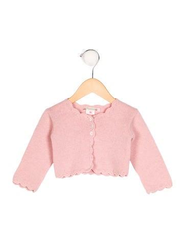 Bonpoint Girls' Scalloped Rib Knit Cardigan None