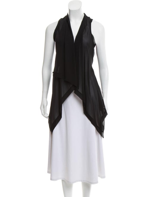 Brochu Walker Silk Sleeveless Cardigan Black