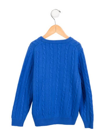 More Details Gucci Cable-Knit Wool Sweater, Boys' Months Details Gucci boys' cable-knit sweater with blue/red/blue ribbed trim. V neckline. V neckline. Long sleeves.