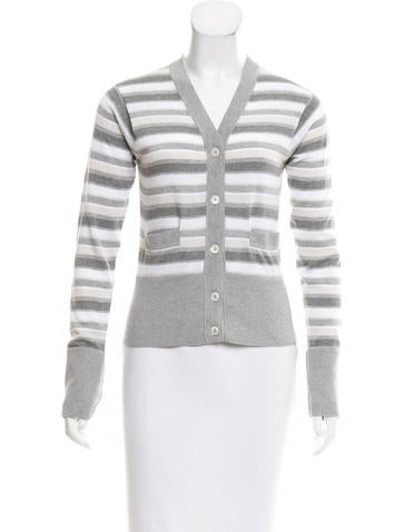 Brooks Brothers Striped Rib Knit Cardigan None