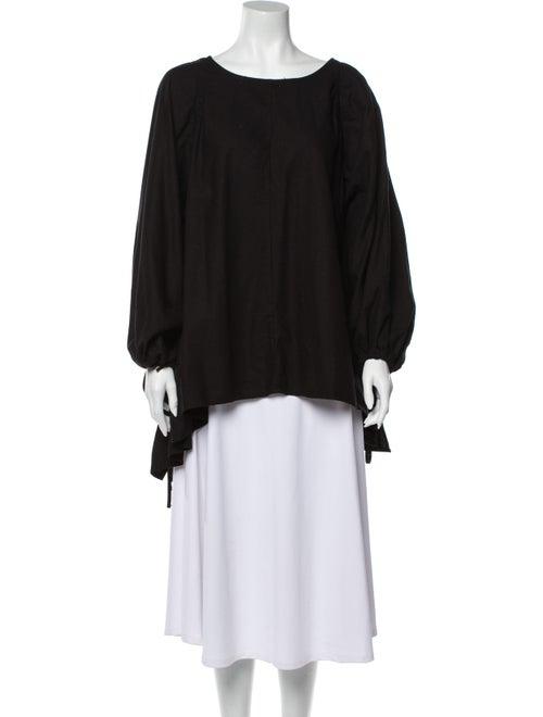 Baserange Silk Scoop Neck Blouse Black
