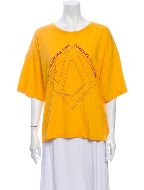 Baserange Graphic Print Crew Neck T-Shirt Gold