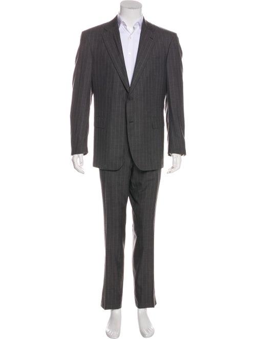 Battistoni Wool Stripe Two-Piece Suit Set grey