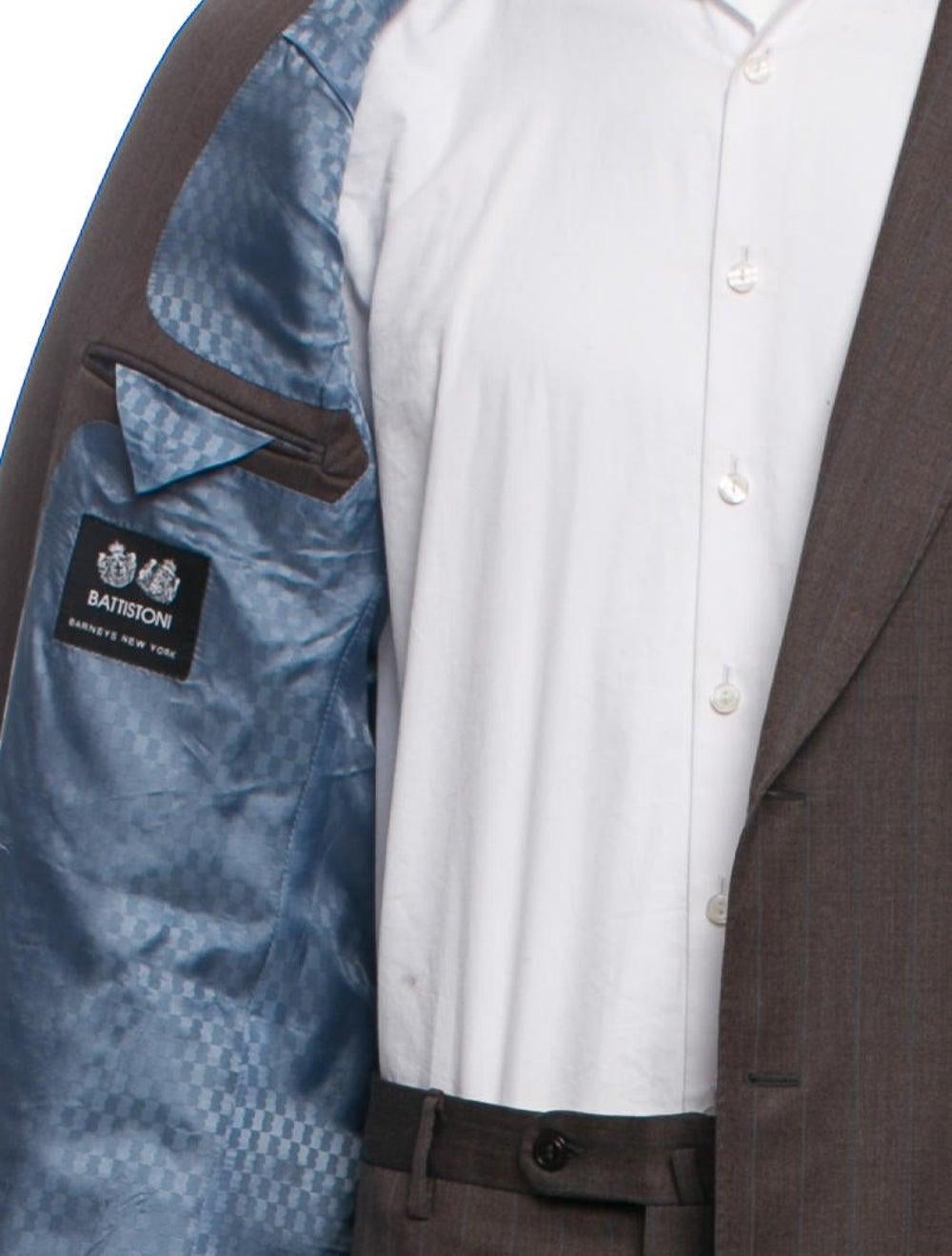 Battistoni Silk-Blend Pinstriped Two-Piece Suit - image 5