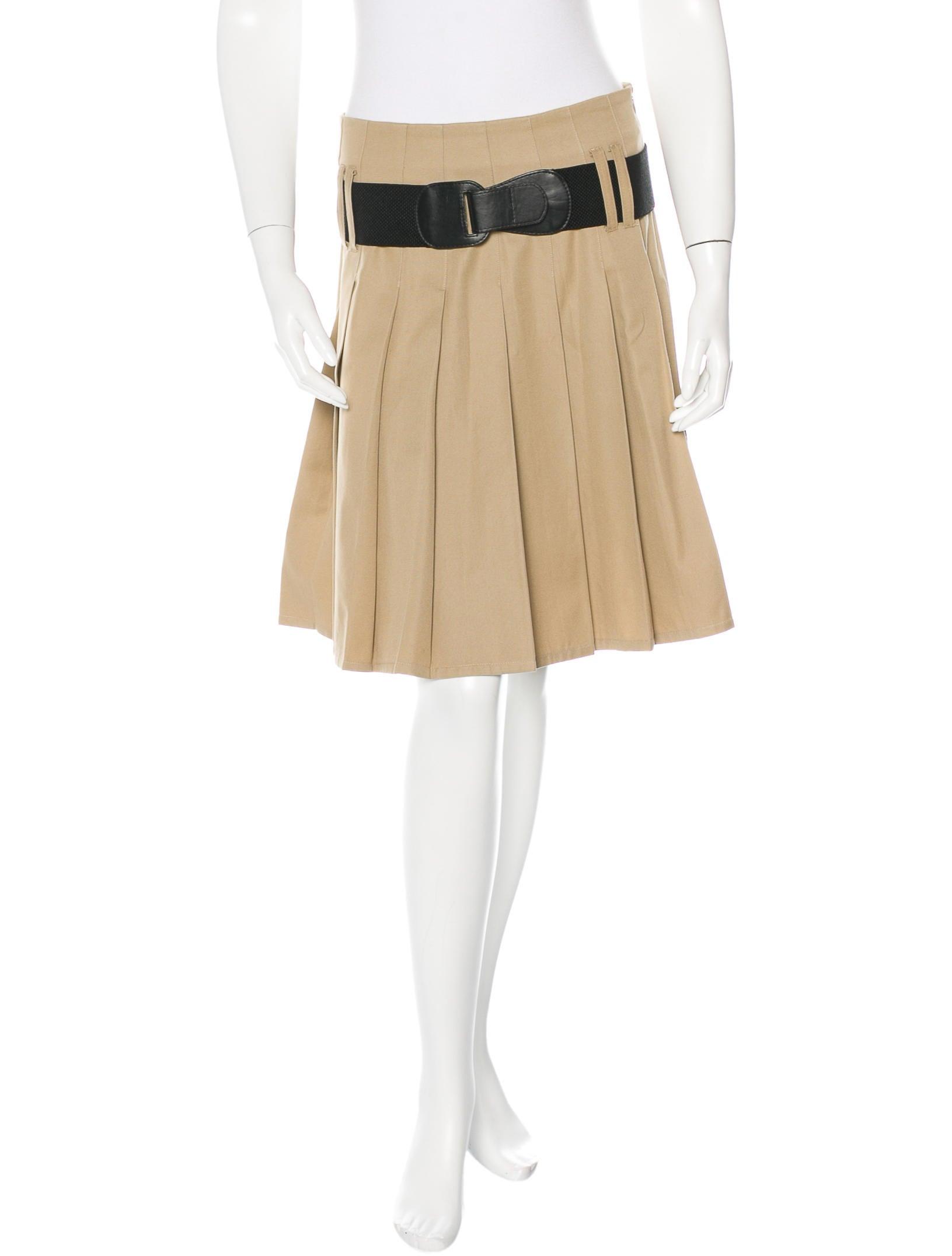 burberry pleated knee length skirt clothing