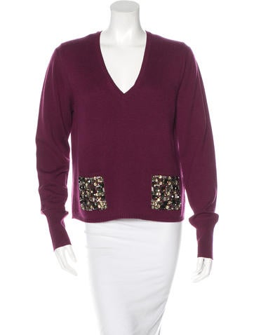 Burberry London Wool & Silk-Blend Embellished Sweater None