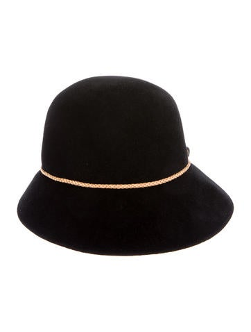 Leather-Trim Fur Hat