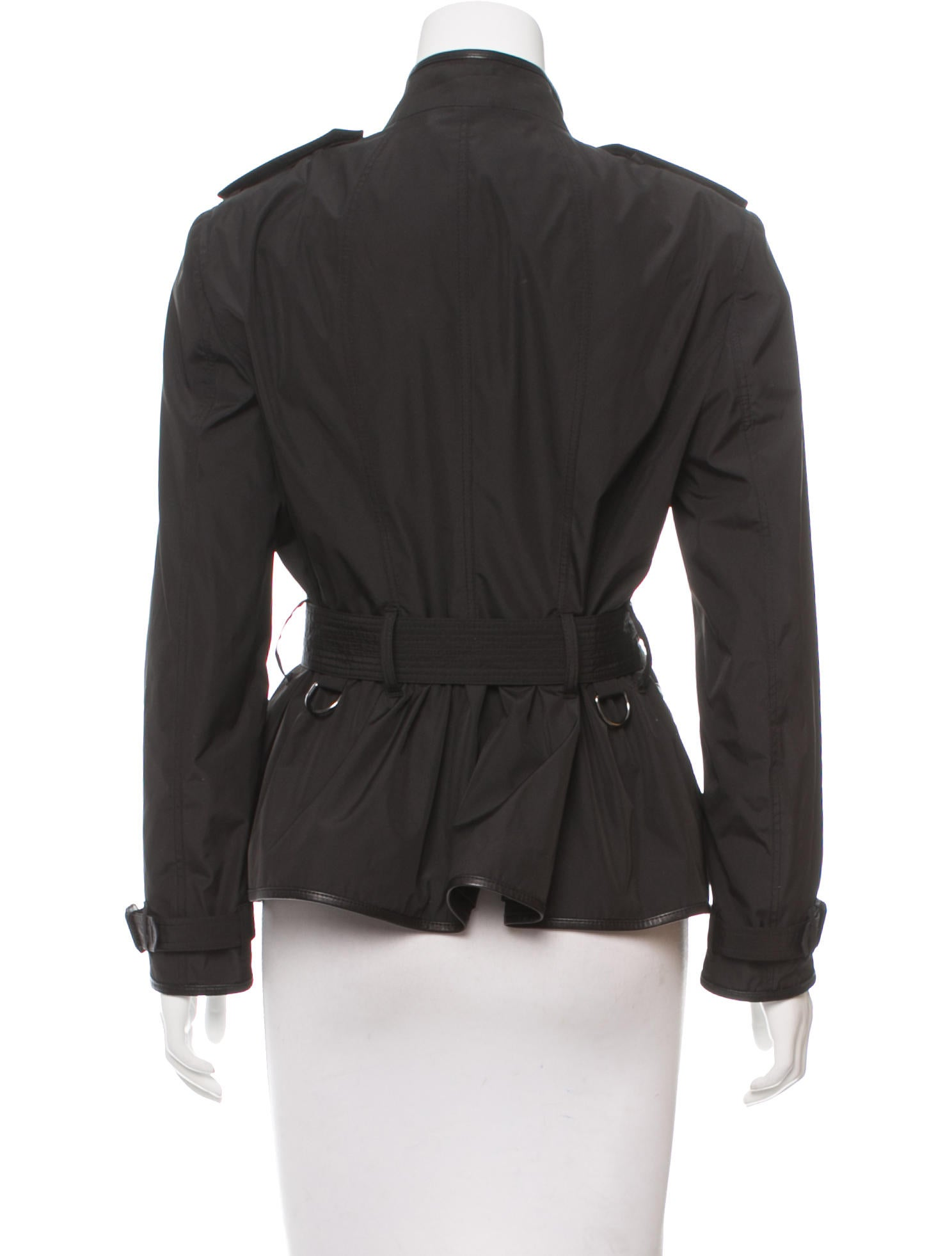 burberry leather trimmed belted jacket clothing