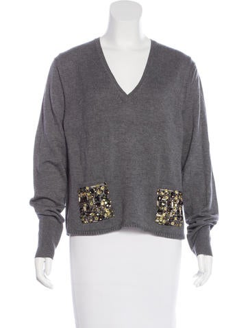Burberry London Wool-Blend Embellished Sweater None