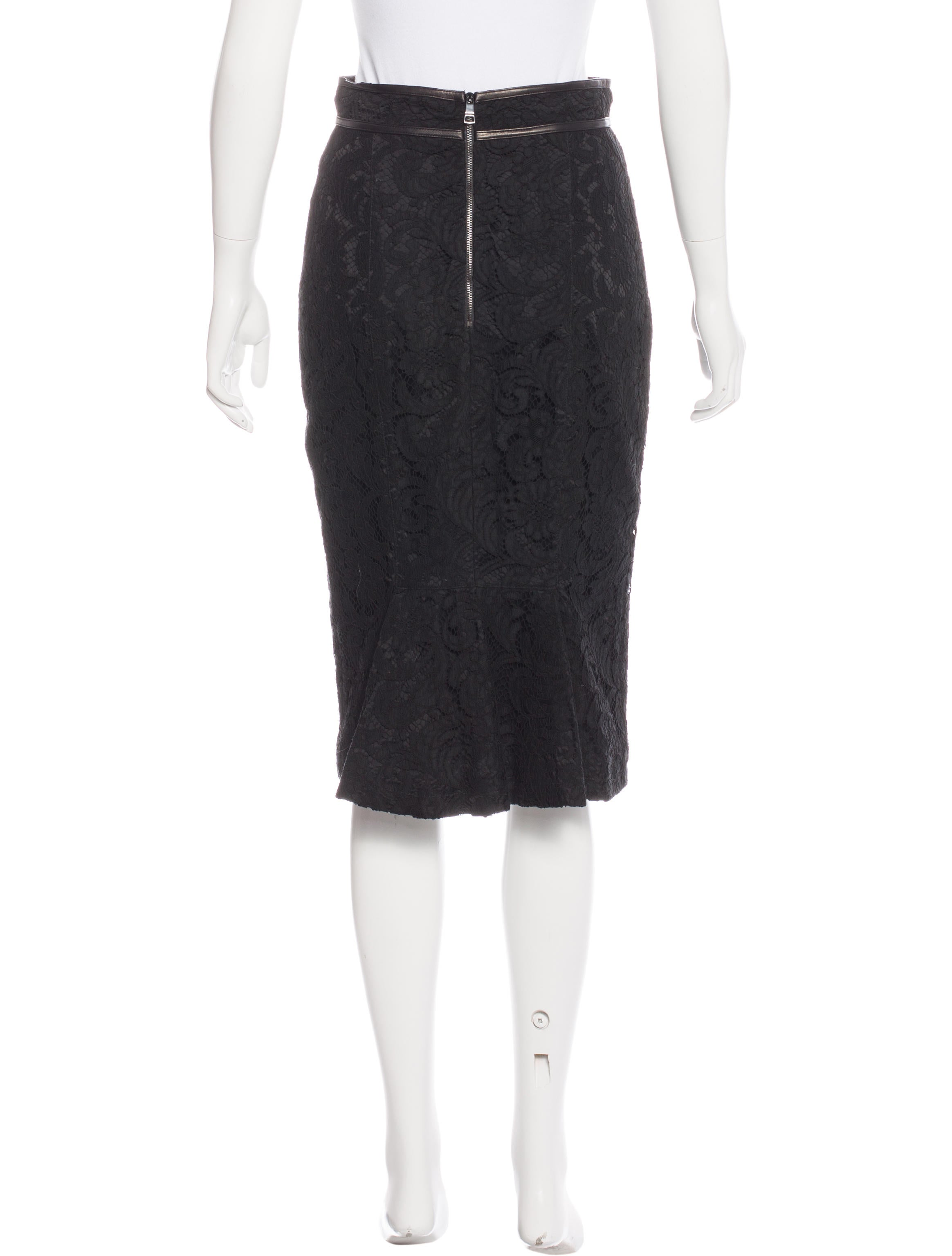 burberry leather trimmed lace skirt clothing