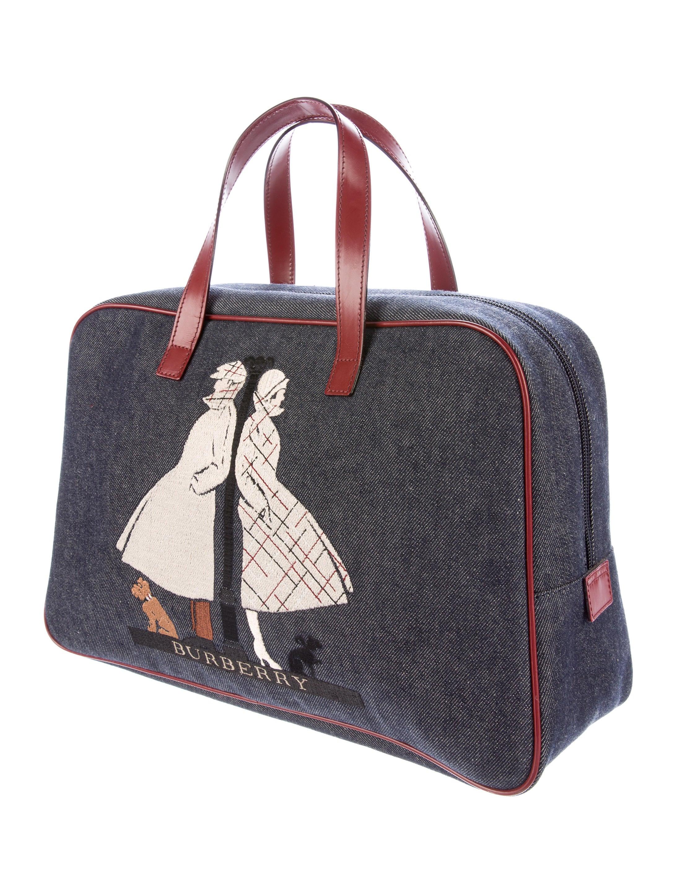 Burberry london embroidered denim handle bag handbags