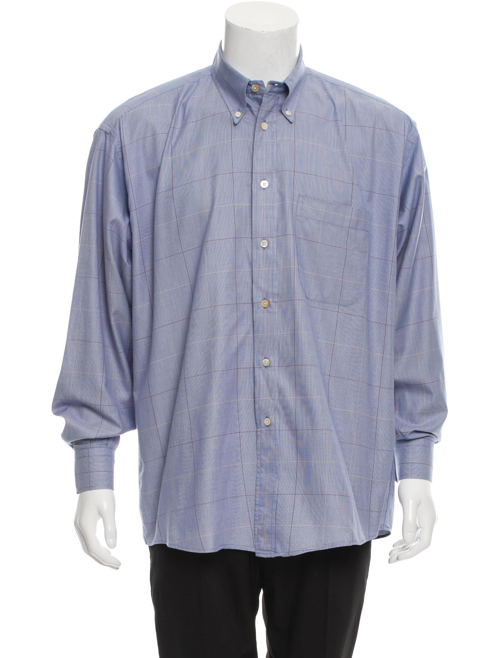Burberry London Windowpane Button Up Shirt Clothing