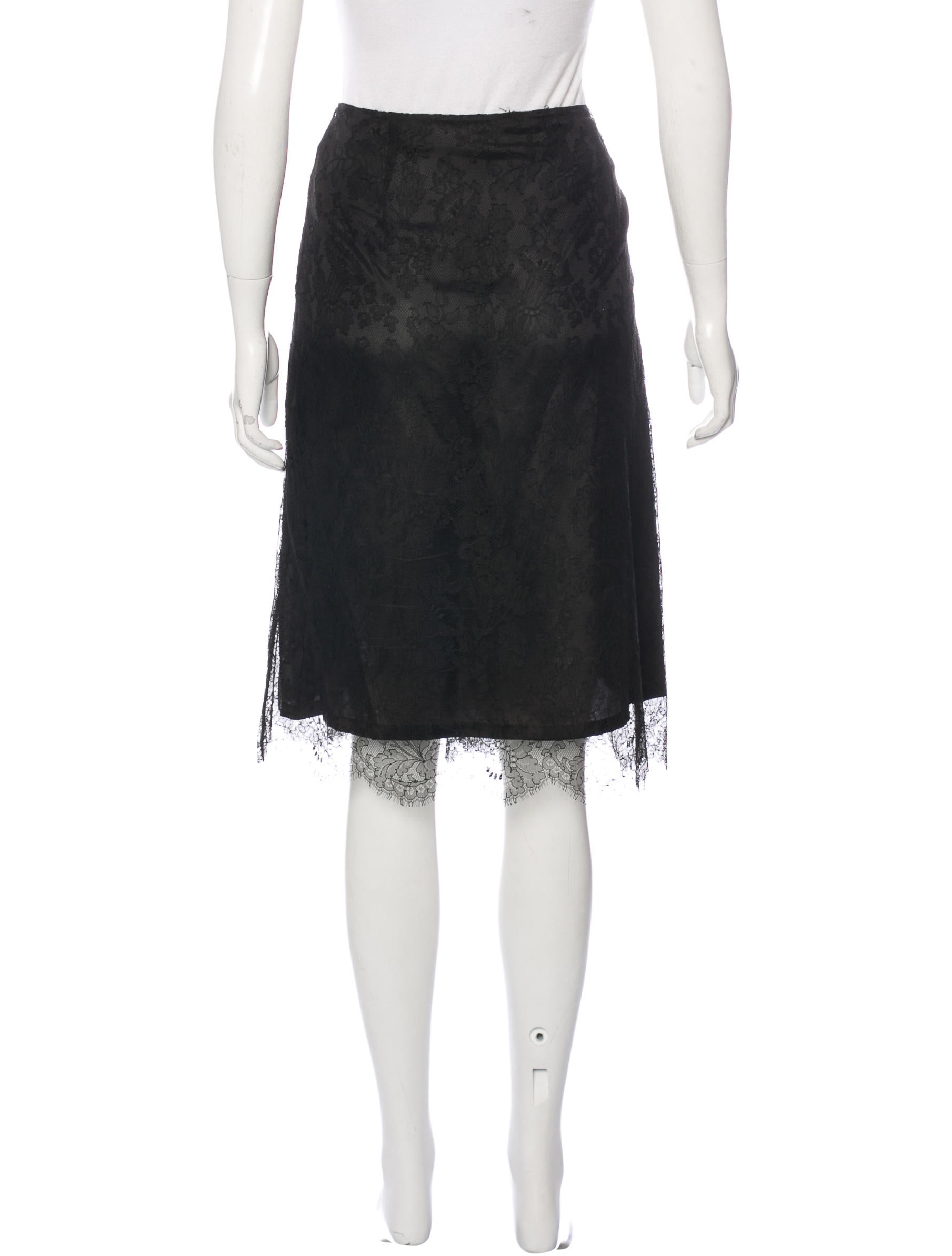 burberry lace knee length skirt clothing