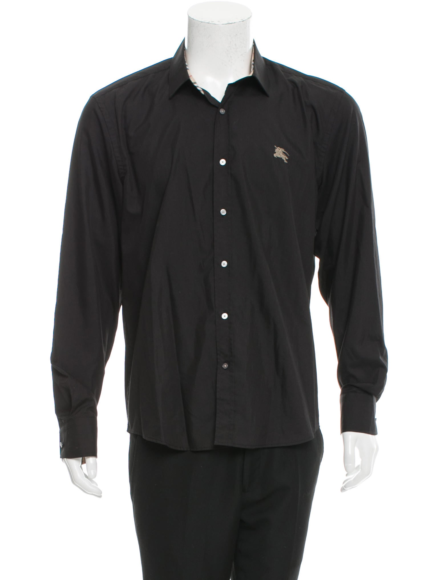 Burberry london logo embroidered button up shirt for Shirt with logo embroidered