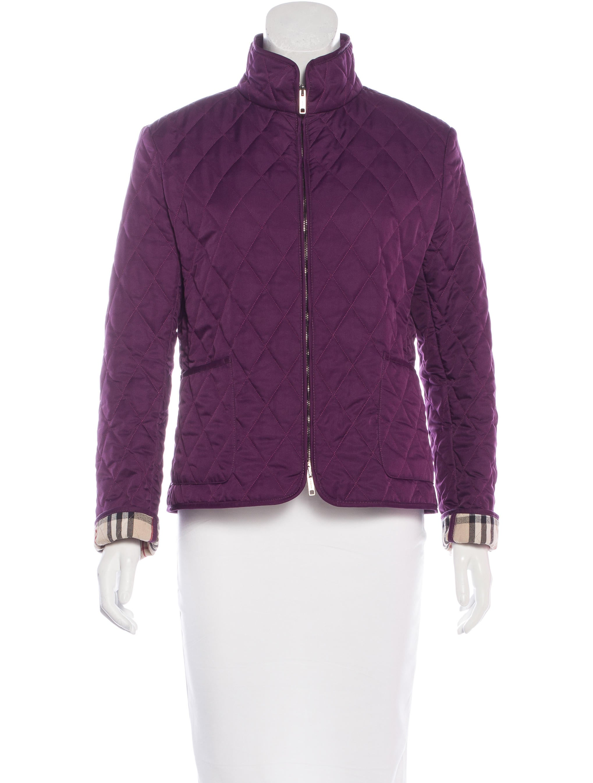 Burberry london quilted stand collar jacket clothing for Stand collar shirt womens