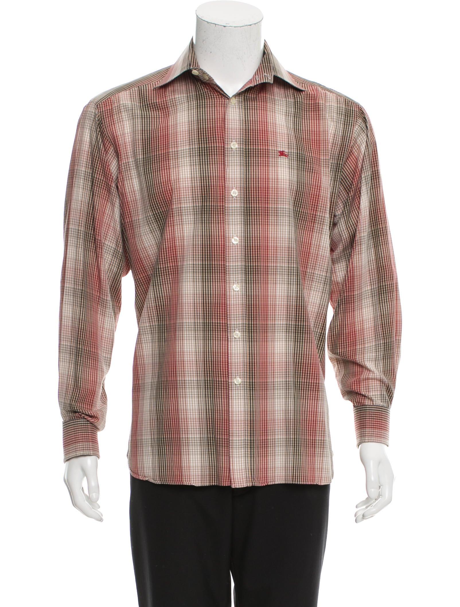 Burberry London French Cuff Plaid Shirt Clothing