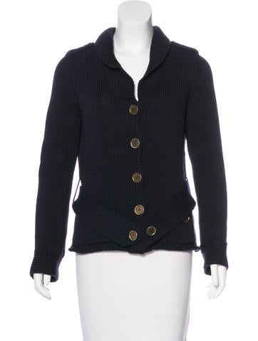 Burberry London Rib Knit Shawl Collar Cardigan None