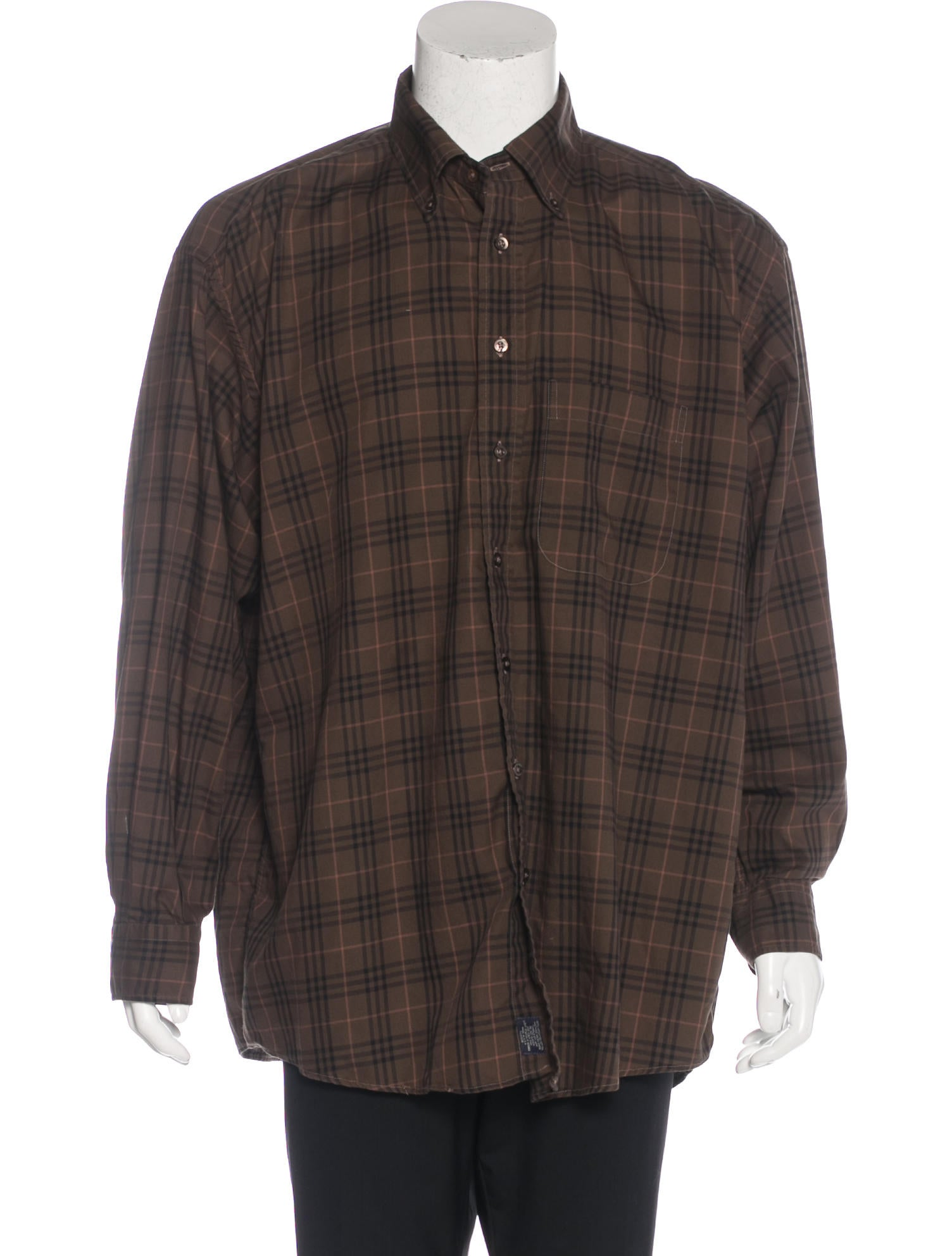Burberry london plaid button up shirt clothing for Brown and black plaid shirt