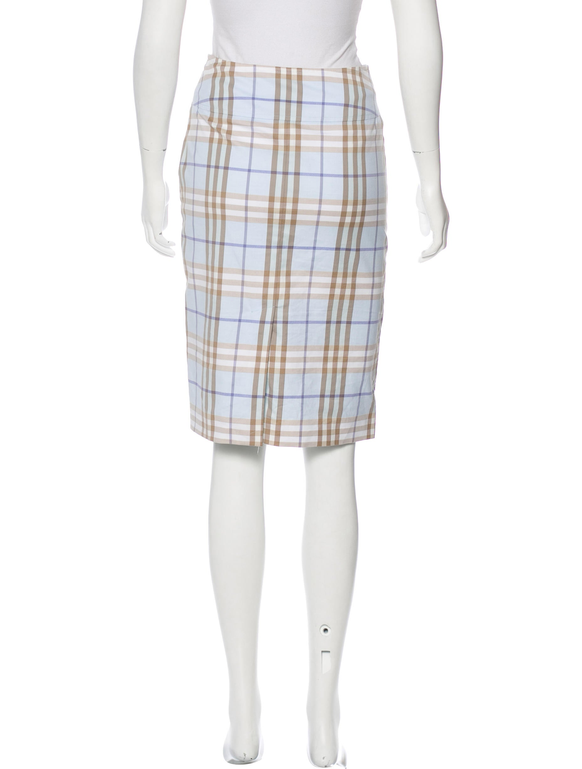 burberry plaid knee length skirt clothing