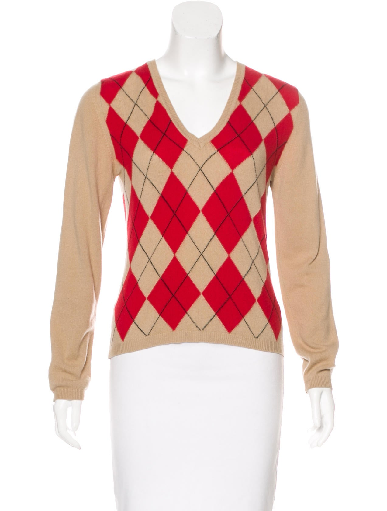 Burberry London Cashmere Argyle Sweater - Clothing - WBURL27104 ...