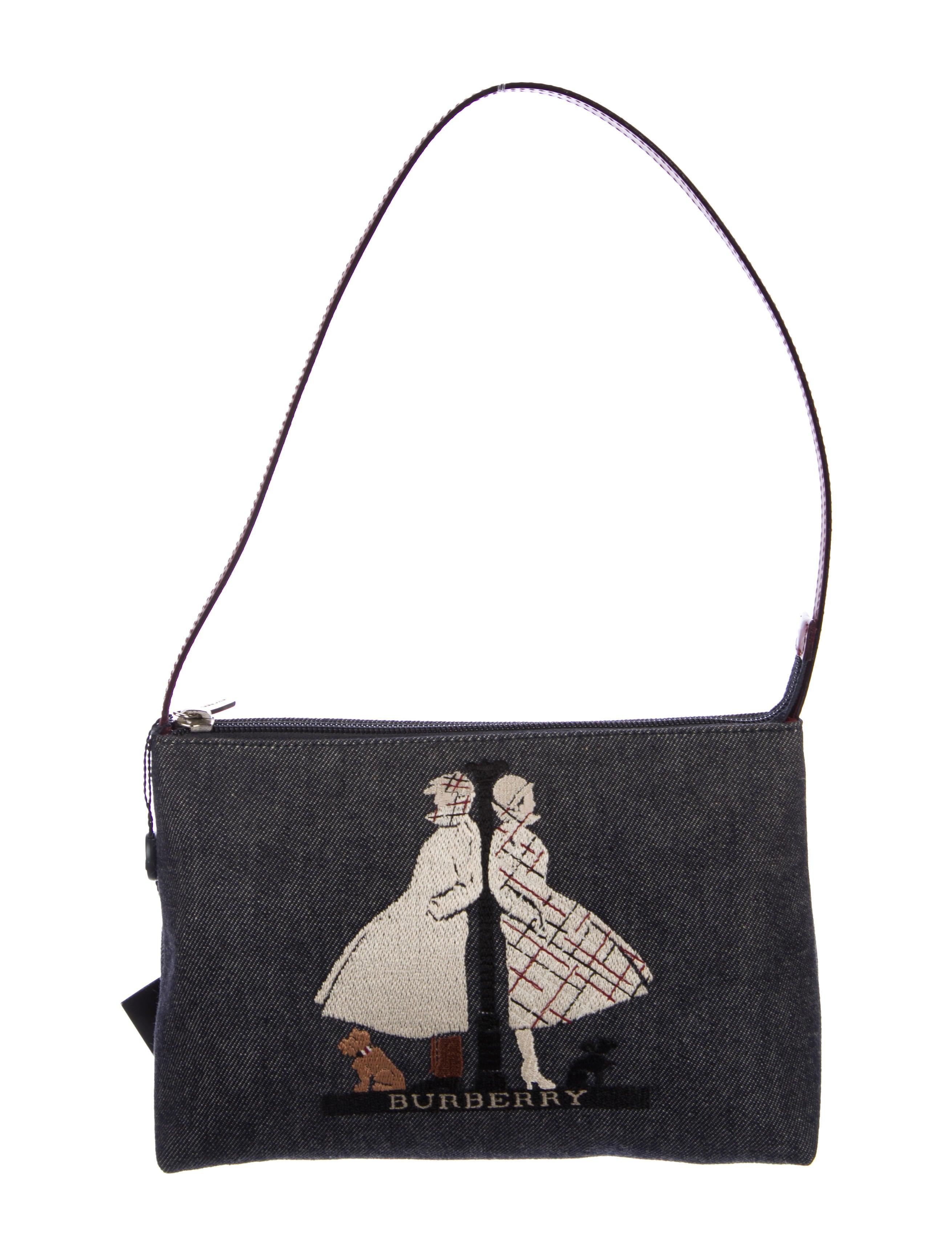 Burberry london embroidered denim bag handbags