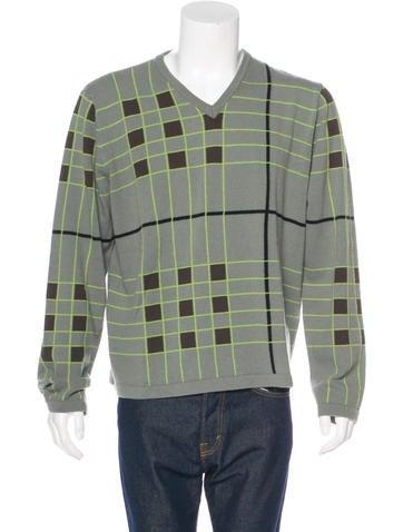 Burberry London Geometric Merino Wool Sweater None