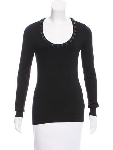 Burberry London Embellished Silk-Blend Sweater None