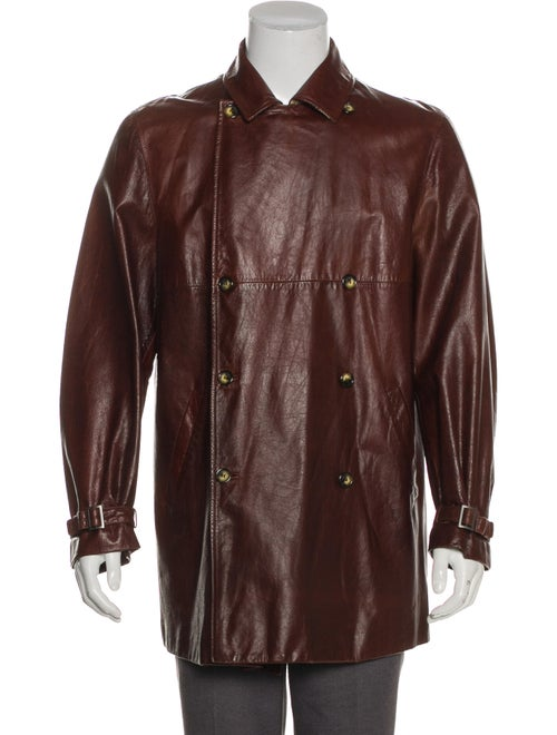 Burberry London Leather Double-Breasted Overcoat b