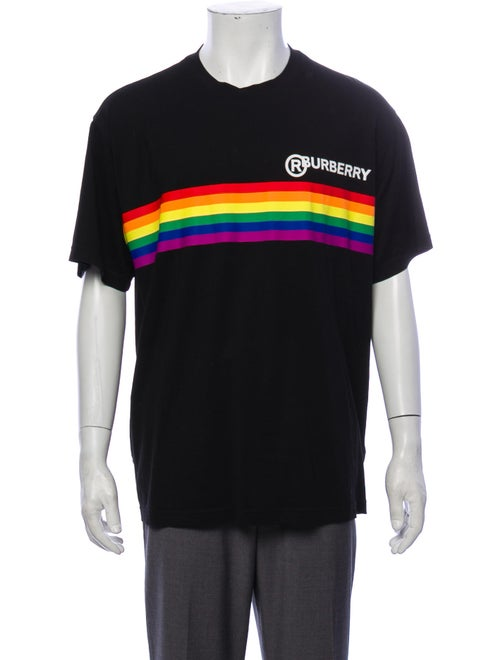 Burberry London Rainbow Stripe Print T-Shirt black