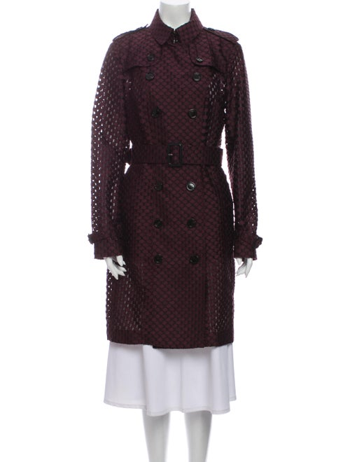 Burberry London Polka Dot Print Trench Coat Purple