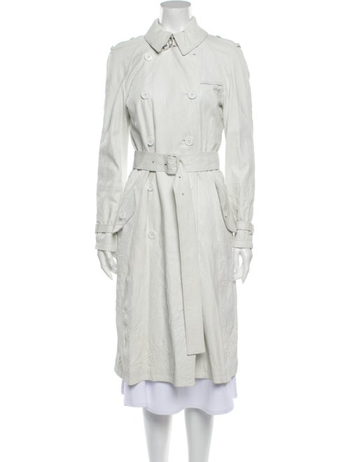 Burberry London Leather Trench Coat White